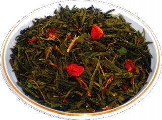 Чай зеленый HANSA TEA Клубника со сливками, 500 г, фольгированный пакет, крупнолистовой зеленый  чай, купить чай