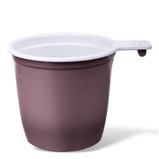 Чашка пластиковая, бело-коричневая, 180мл, 50 шт. в упаковке